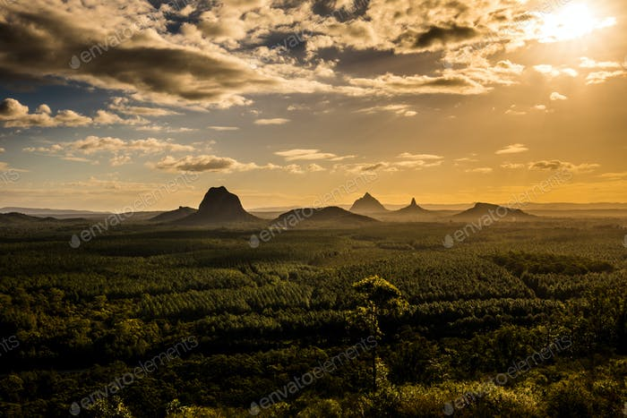 View of Glass House Mountains at sunset visible from Wild Horse