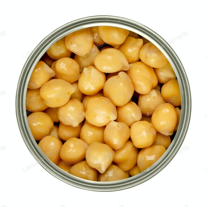 Canned chickpeas, large light tan chick peas in a can from above