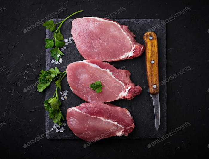 Raw fresh beef steak