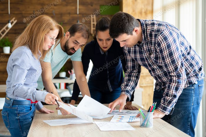 Start-up brainstorming meeting in modern office. Start up company