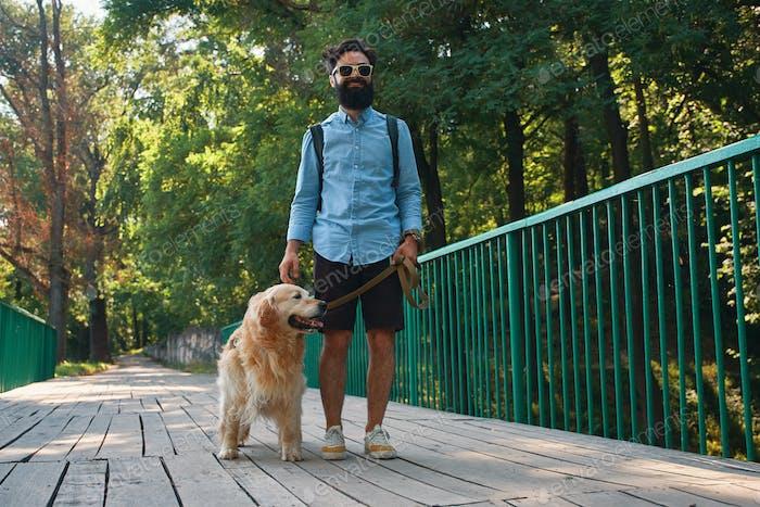 Morning walk with dog.