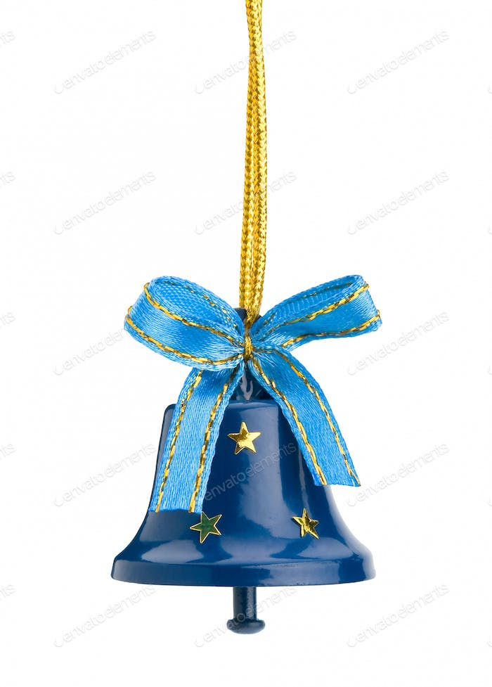 Christmas hand bell with a bow, Isolated on white background