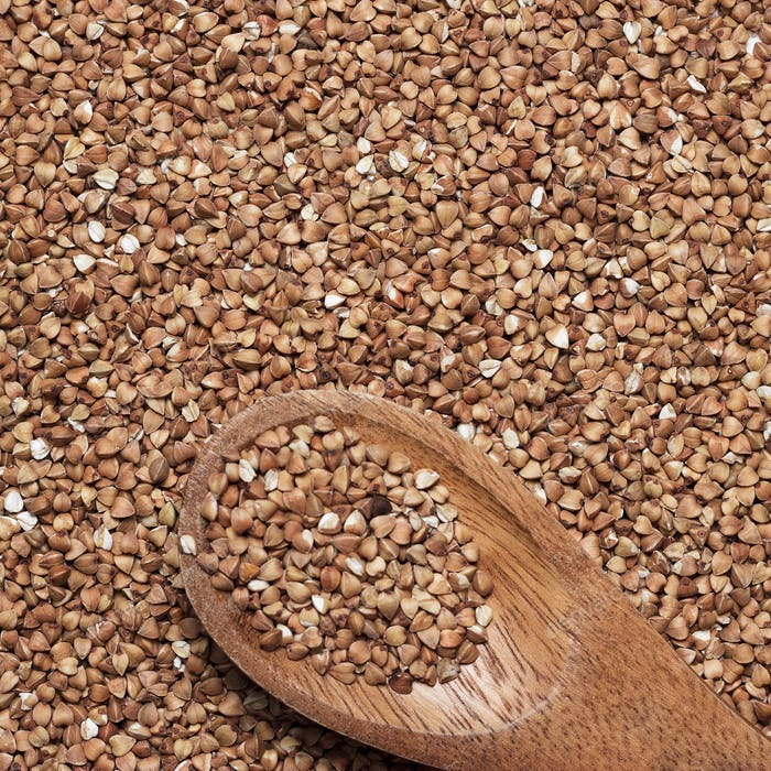 Buckwheat With Brown Wooden Spoon