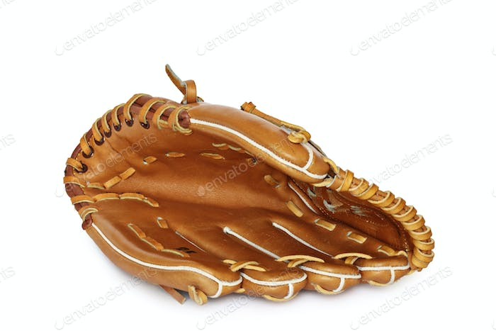 Empty baseball catcher mitt isolated on white background