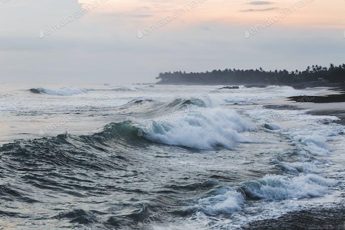Huge waves at ocean coast in Bali