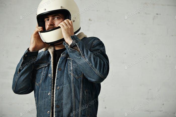 Attractive motor biker in blank jacket mockup set