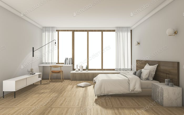 3d rendering nice contemporary bedroom with daylight from window