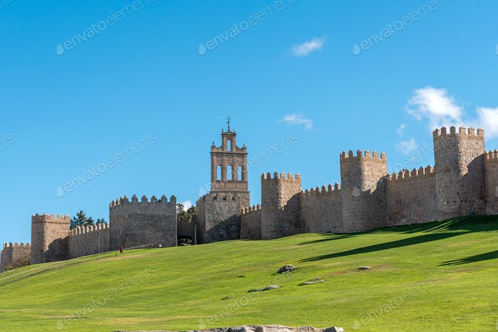 The famous medieval city wall of Avila