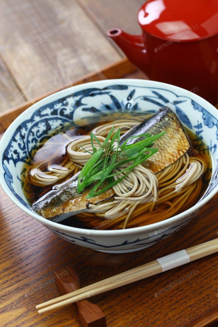 nishin soba, Japanese buckwheat noodle dish