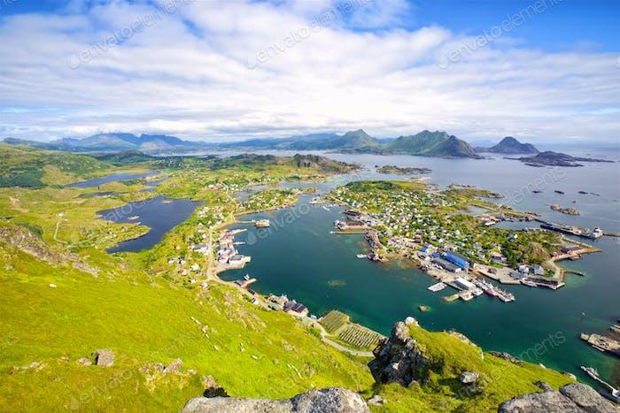 Aerial view of Lofoten Islands