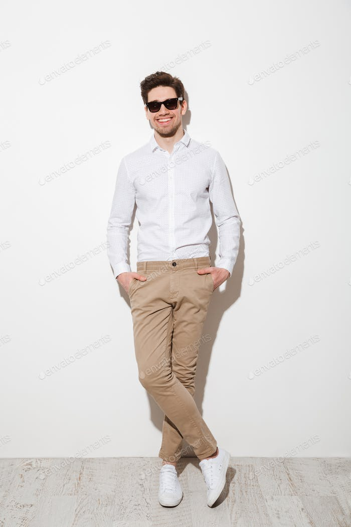 Full length photo of handsome guy dressed in casual clothing and