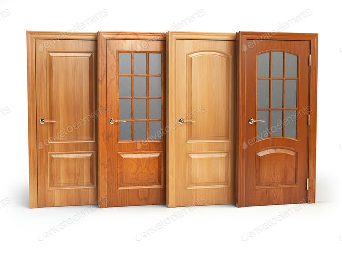 Sale of wooden doors isolated on white. Interior design or marke