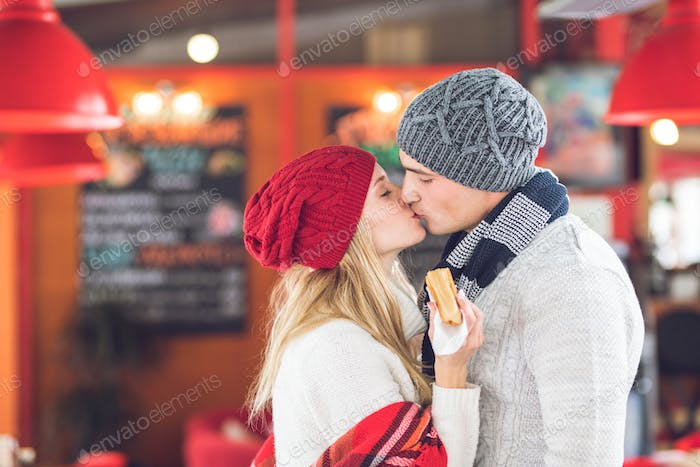 Kissing young couple