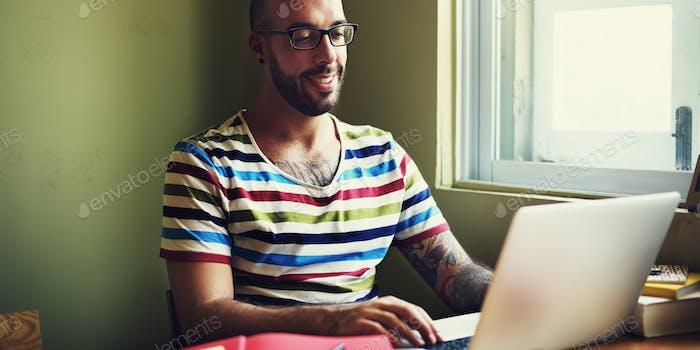 Casual Man Working Browsing Laptop Concept