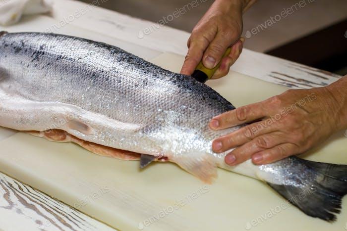 Kitchen knife cuts raw fish