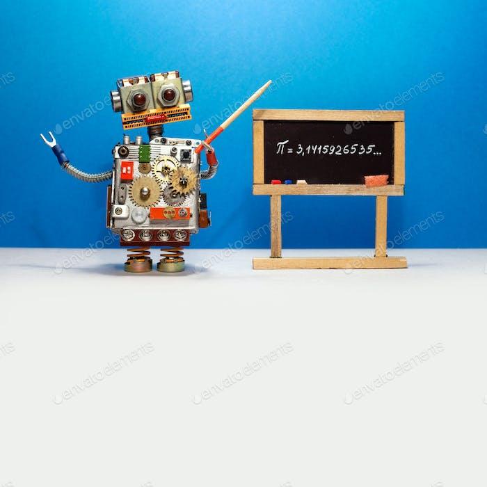 Roboter Professor erklärt Pi mathematische konstante irrational Zahl 3.14.