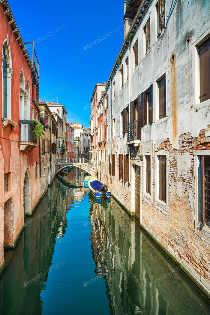 Thumbnail for Venice cityscape, water canal and traditional buildings. Italy