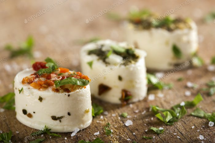 Delicious appetizers with cheese