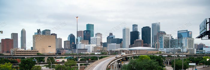 Panoramic View Houston Downtown City Skyline Infrastructure