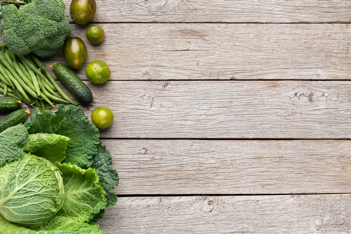 Green fruits and vegetables collection, creative background