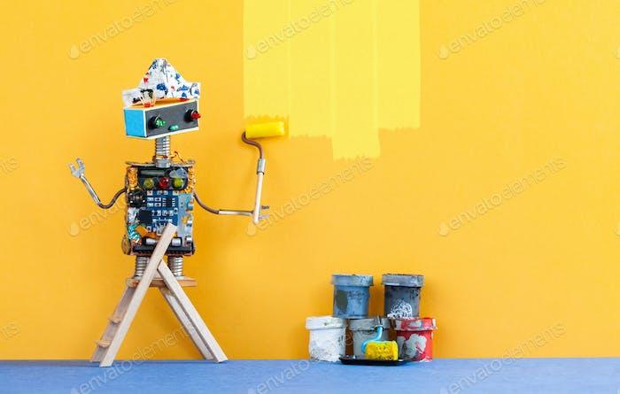 Декоратор робот перекрашивает стену комнаты в желтый цвет.