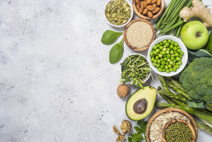 Organic green food and healthy vegan food