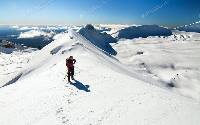 Climber on Mt. Ruapehu's Summit Ridge in New Zealand