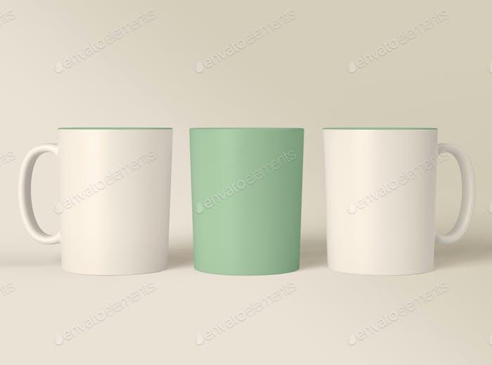 3D Illustration. Leere Kaffeebecher Design Mockup.