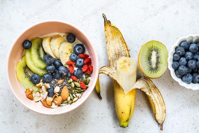 Yogurt with fresh fruits and Nut