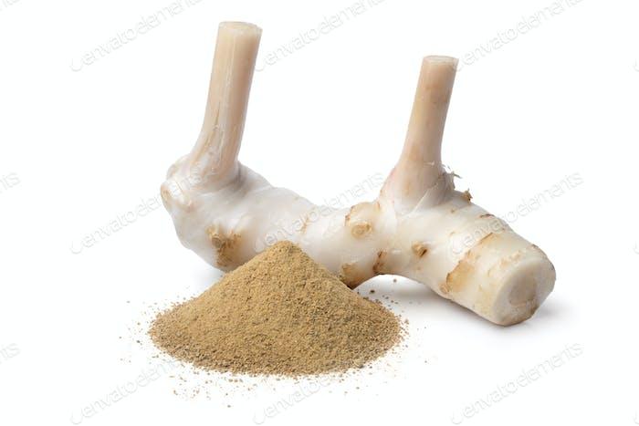 Fresh raw galangal rhizome and ground powder