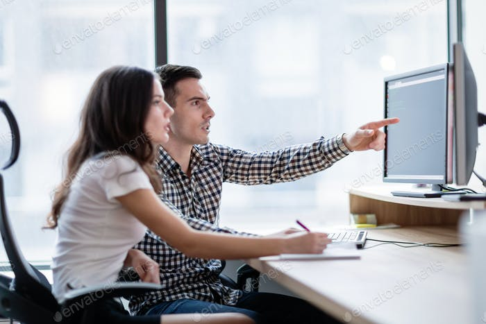 Two young business colleagues working on computer