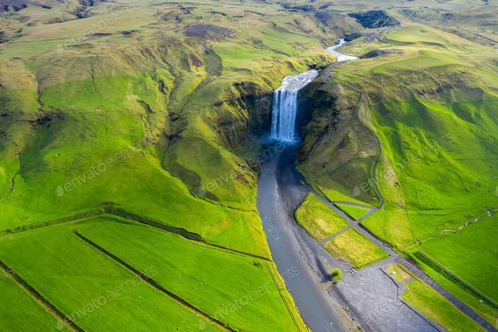 Aerial view of Skogafoss waterfall in Iceland