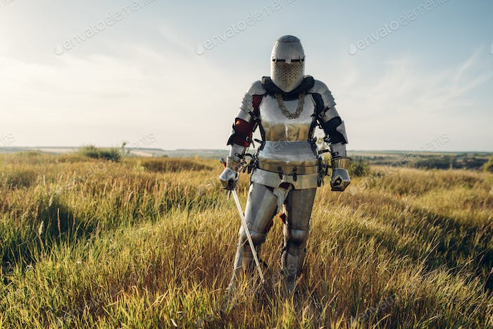 Knight in armor and helmet holds sword