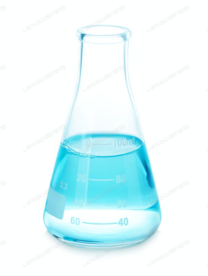 Test-tube with blue liquid isolated on white.