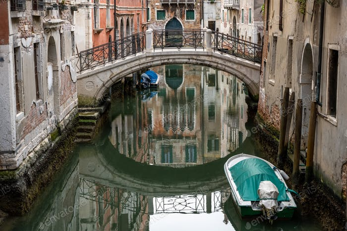 Tranquil scene in one of the small canals in Venice