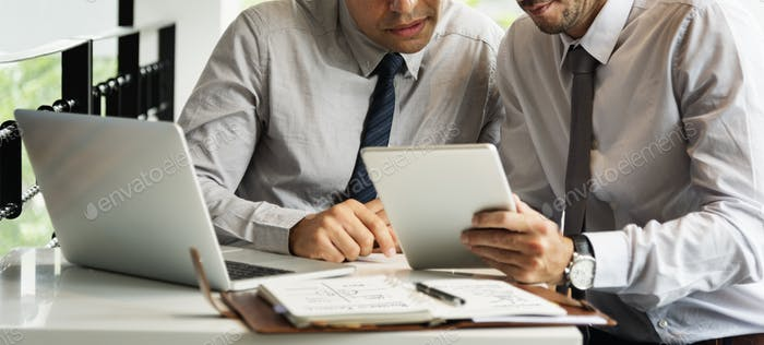 Business Colleagues Meeting Laptop Tablet Concept