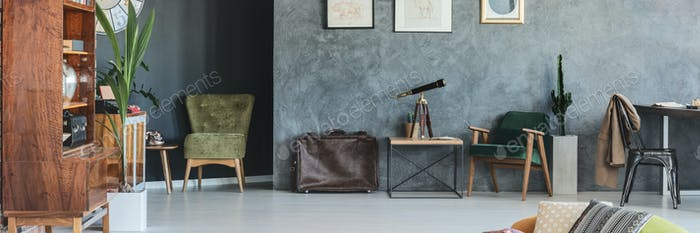 Grey flat with stylish accessories