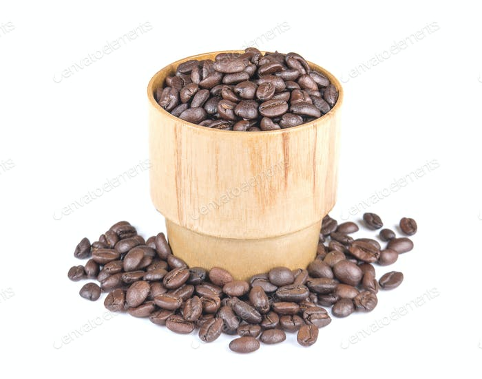 Coffee Beans,Wood glass on white background.