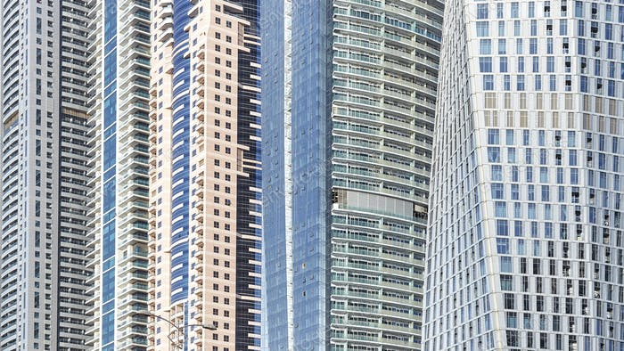 Close up picture of modern buildings facades.