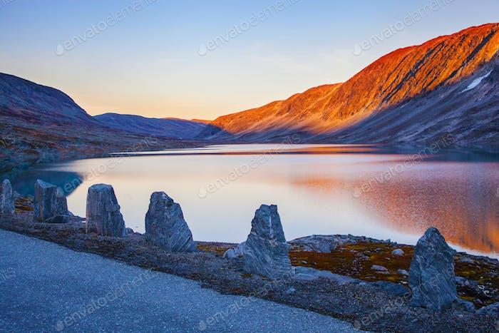 lake at Gamle Strynefjellsvegen, National tourist road, Norway