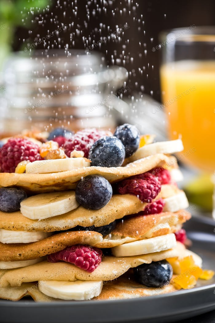 Pancakes tower stack for Pancake day or Shrove Tuesday