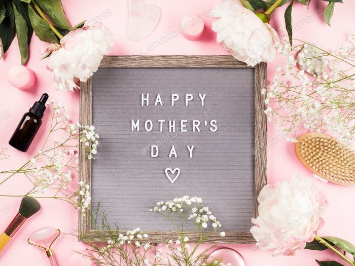 Happy mothers day greetings on letter board