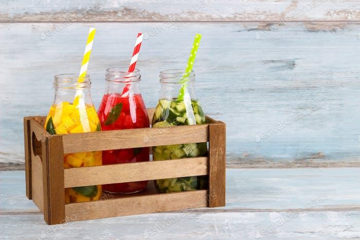 Detox fruit infused water.