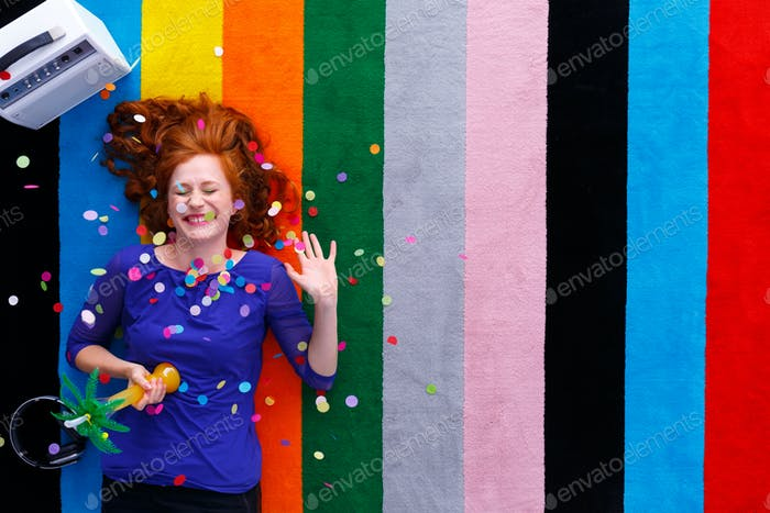 Party girl with confetti