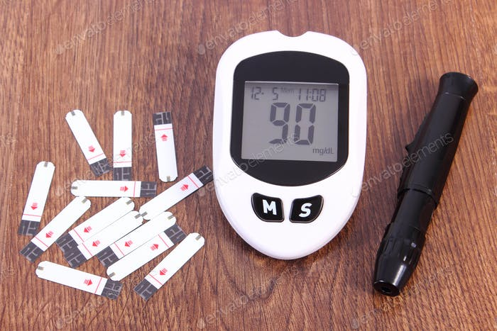 Glucometer with accessories for measuring and checking sugar level