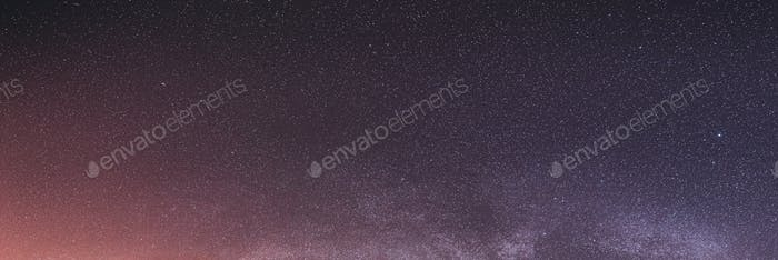 Real Colorful Night Sky Stars With Milky Way Galaxy. Natural Sta