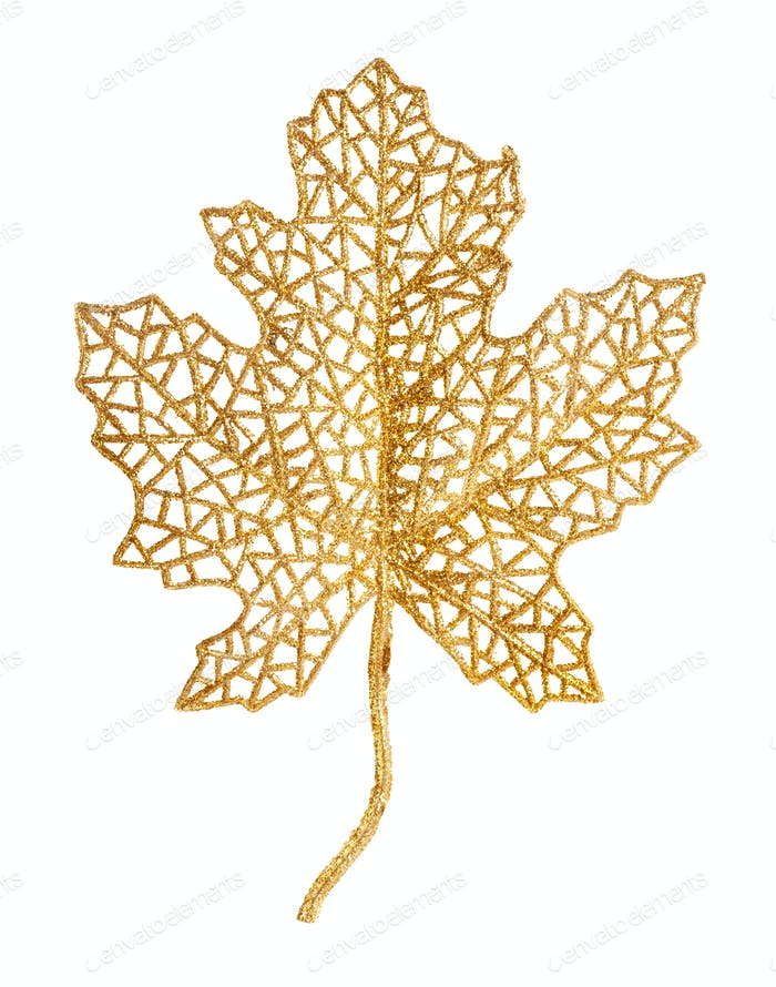 golden plastic skeleton of natural leaf isolated