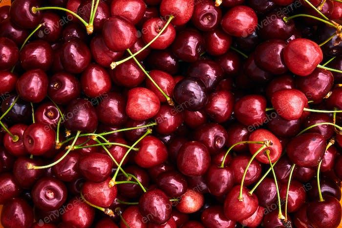 Kirschen Hintergrund. Süße rote Kirschen