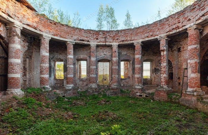 Ancient brick columns of an old rotunda