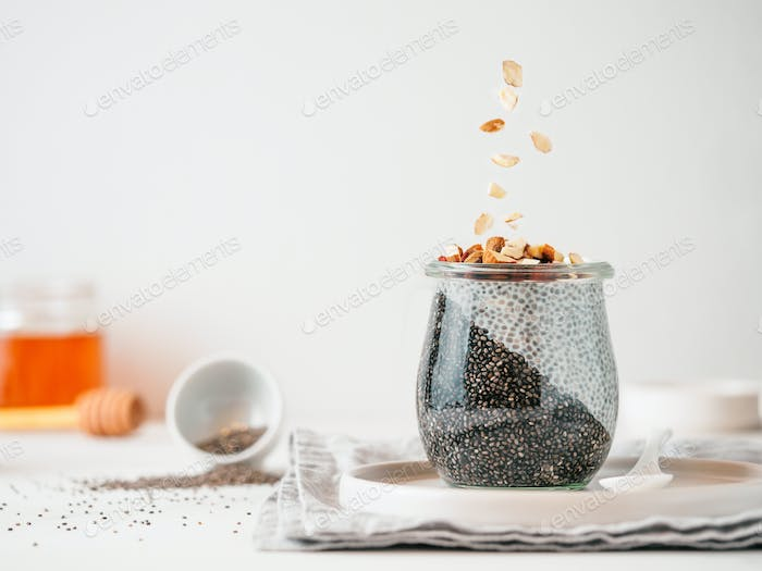 charcoal two colors chia pudding,almond, copy space
